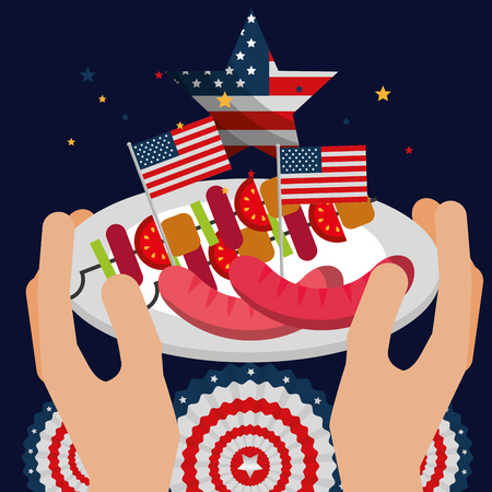 food american independence day hands holding dish with kebabs sausages usa flags vector illustration