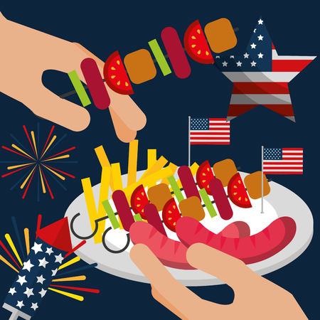 food american independence day fireworks celebrate rockets hands holding kebabs dish french fries sausages vector illustration