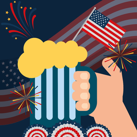 food american independence day wave usa flag background hand holding beer fireworks colors pennants vector illustration