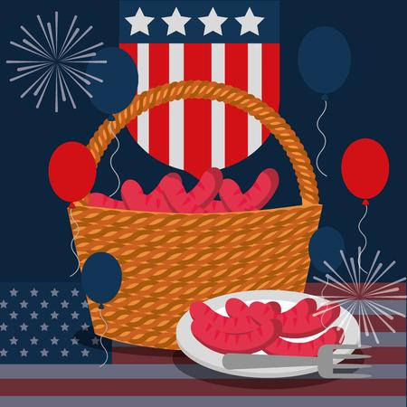 food american independence day usa shield flag balloons fireworks basket with sausages vector illustration Ilustração