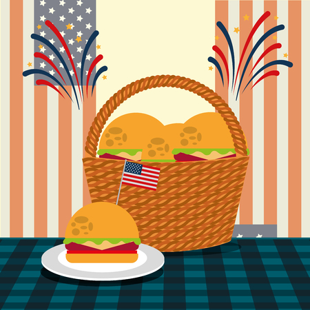 food american independence day table with basket hamburguers usa flag vector illustration