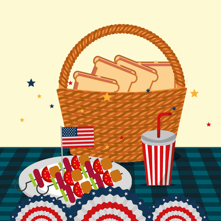 food american independence day table with dish kebabs soda basket with sandwiches pennants vector illustration Stock Illustratie