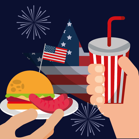 food american independence day hands holding soda dish with hamburger sausages fireworks usa flag vector illustration
