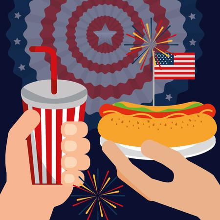 food american independence day usa flag pennant background fireworks celebration hands holding soda hotdog vector illustration