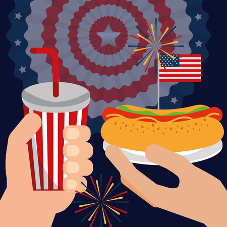 food american independence day usa flag pennant background fireworks celebration hands holding soda hotdog vector illustration