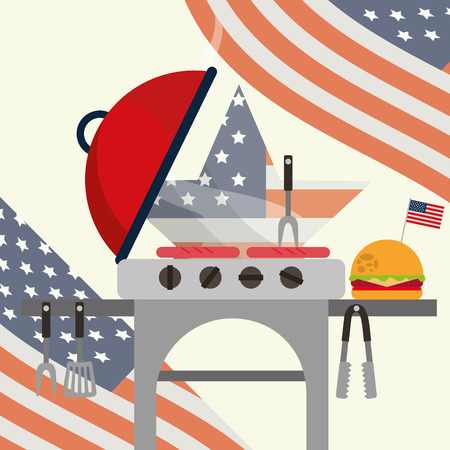 food american independence day grill sausages hamburger wave usa flag vector illustration