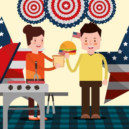 Festa americane del giorno degli Stati Uniti che mangiano l & # 39 ; illustrazione di vettore di griglia della griglia di attività delle Archivio Fotografico - 103000852