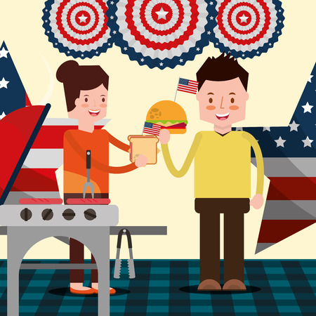 american independence day people eating hamburger grill stars usa flag vector illustration
