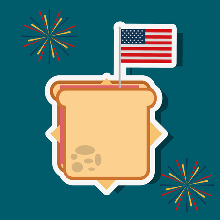 food american independence day sandwich with usa flag fireworks vector illustration