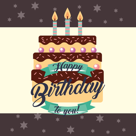 delicious cake with candles ribbon decoration happy birthday card vector illustration