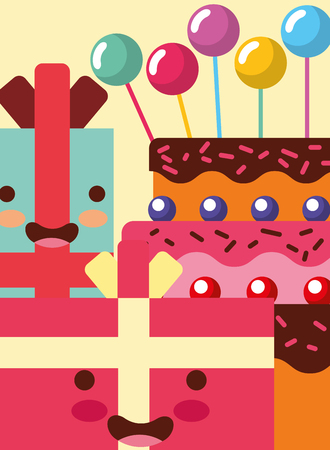 gift boxes cartoon sweet cake bubbles decoration happy birthday card vector illustration