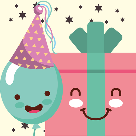 gift box cartoon and smile balloon hat party happy birthday card vector illustration