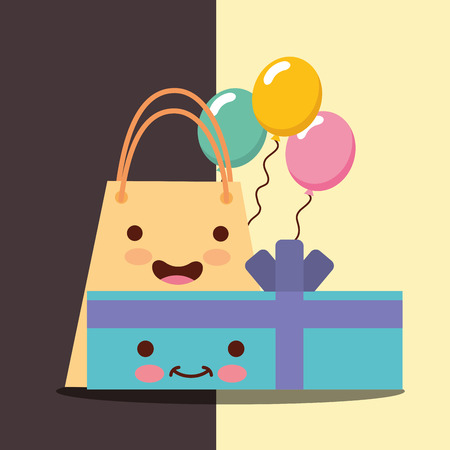 gift box and shopping bag cartoon balloons celebration happy birthday card vector illustration