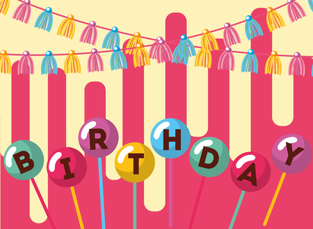 word in balloons in stick garlands decoration happy birthday card vector illustration Standard-Bild - 103000861