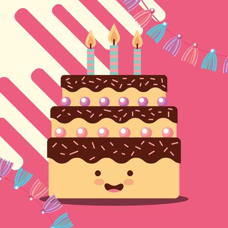 sweet cake and candles burning celebration happy birthday card vector illustration Illustration