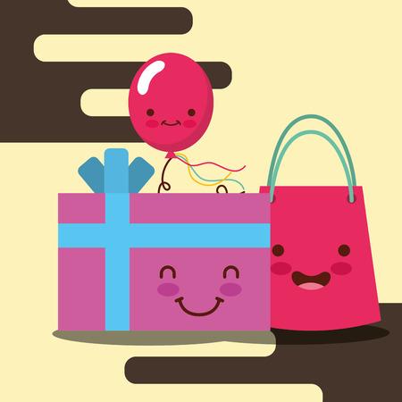 gift box cartoon bag and smile balloon happy birthday card vector illustration