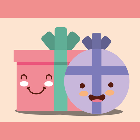 round and square gift boxs cartoon happy birthday card vector illustration Иллюстрация