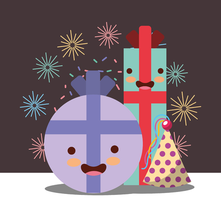 gift box cartoon hat party lights decoration happy birthday card vector illustration