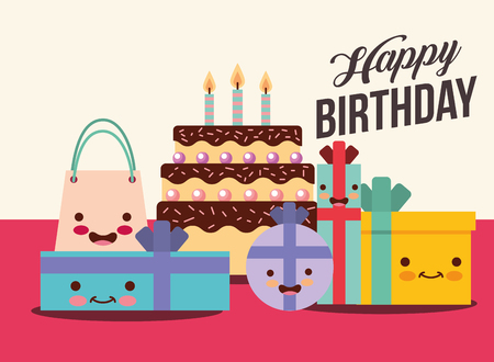 set of gift boxes and cake cartoon happy birthday card vector illustration