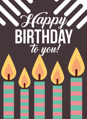 burning candles stripes decoration happy birthday card vector illustration Ilustração