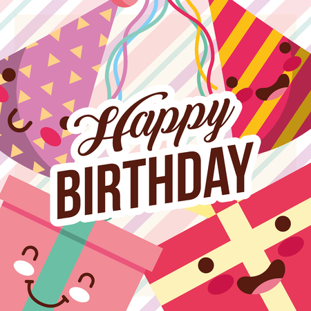 gift boxes and party hats cartoon happy birthday card vector illustration