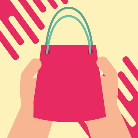 hand holding shopping bag gift happy birthday card vector illustration 向量圖像