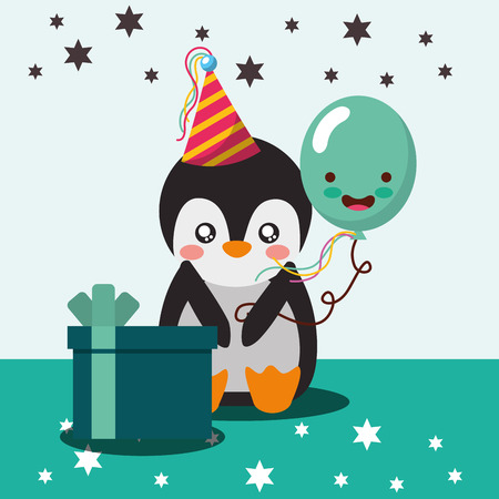 cute penguin and balloon gift box happy birthday vector illustration