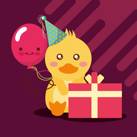 gift box balloon cute duck with party hat happy birthday vector illustration Çizim