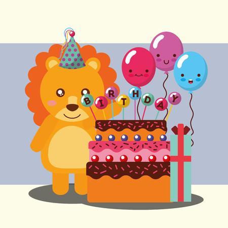 little lion celebrating cake balloons gift happy birthday vector illustration Stock Illustratie
