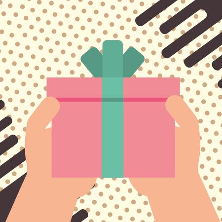 hand holding gift box wrapped ribbon decoration happy birthday vector illustration Illustration