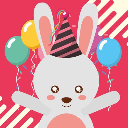 cute rabbit balloons happy birthday greeting card vector illustration