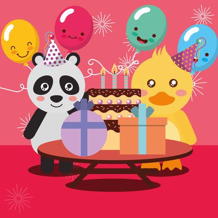 Alles Gute zum Geburtstag Party Karte niedlichen Panda und Ente Tiere Vektor-Illustration Standard-Bild - 103005339