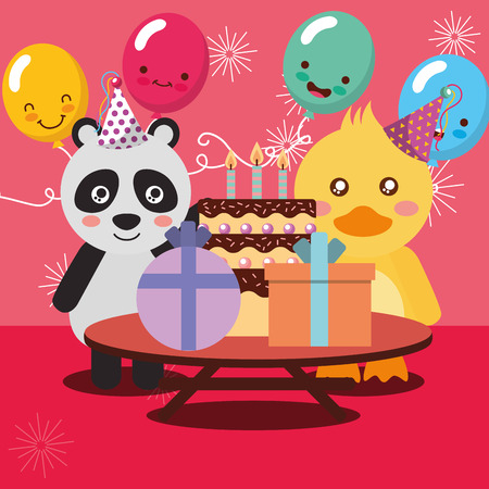 happy birthday party card cute panda and duck animals vector illustration Stock Vector - 103005339
