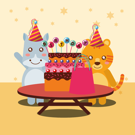 happy birthday party card cute hippo and tiger animals vector illustration Illustration