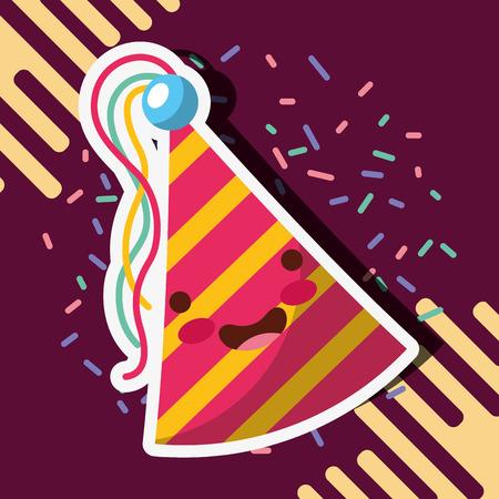 cute party hat confetti decoration vector illustration