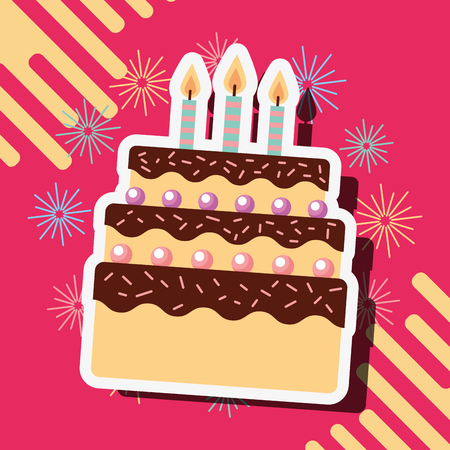 happy birthday cake candles celebration vector illustration Иллюстрация