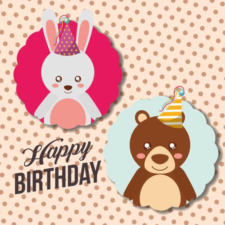 feliz cumpleaños linda tarjeta de conejo divertido y oso ilustración vectorial