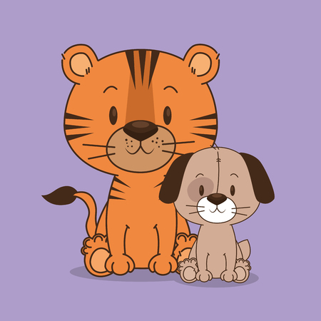 cute and little dog and tiger characters vector illustration design