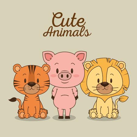 Pequeño y lindo animales grupo de ilustración vectorial de diseño Foto de archivo - 103000937