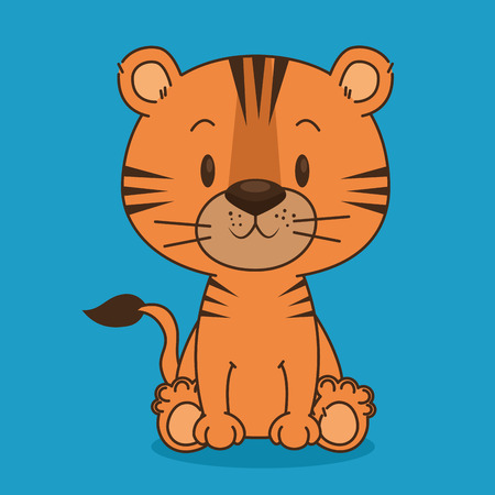 cute and little tiger character vector illustration design
