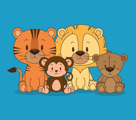 Pequeño y lindo animales grupo de ilustración vectorial de diseño Foto de archivo - 103000945