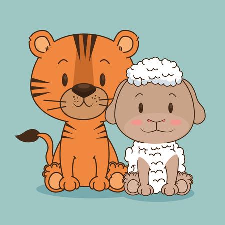 Tigre lindo y pequeño y ovejas personajes ilustración vectorial de diseño Foto de archivo - 103000950