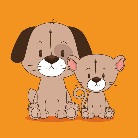 cute and little dog and cat characters vector illustration design Illustration