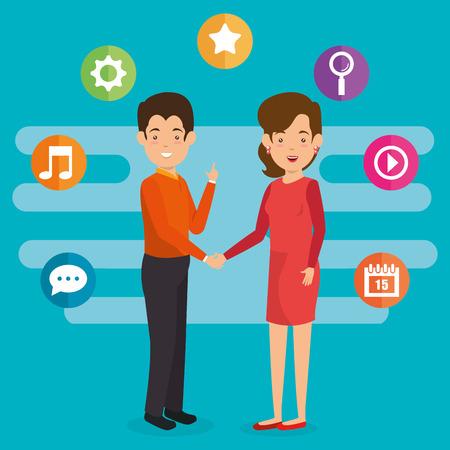 business couple avatars with social media marketing vector illustration design