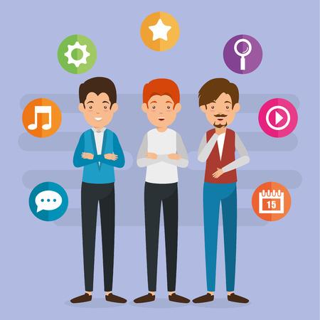 Gruppo di persone con progettazione dell & # 39 ; illustrazione di vettore di icone di marketing di social media Archivio Fotografico - 103010935