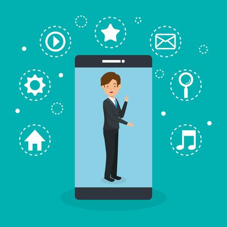 avatar man with social media marketing vector illustration design Illusztráció
