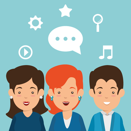 group of people with social media marketing icons vector illustration design