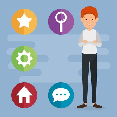 avatar man with social media marketing vector illustration design Illustration