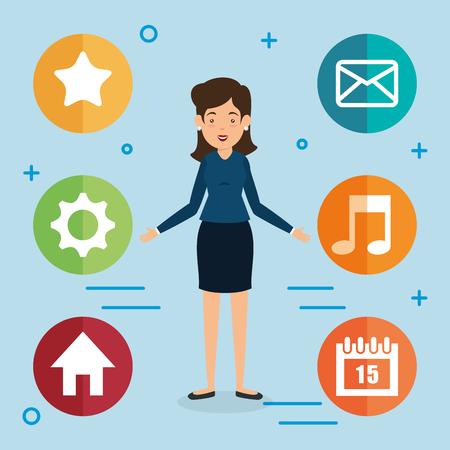 Donna avatar con progettazione di illustrazione vettoriale di marketing di social media Archivio Fotografico - 103014177