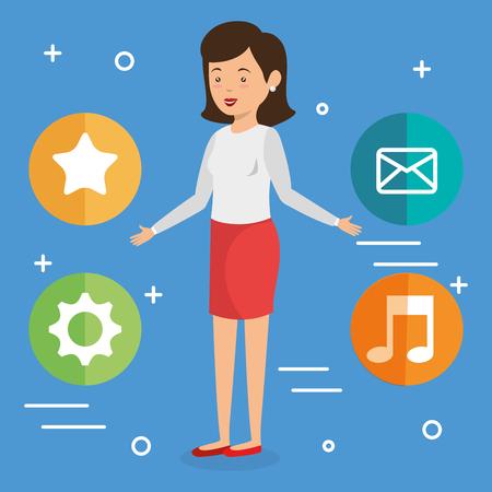 Donna avatar con progettazione di illustrazione vettoriale di marketing di social media Archivio Fotografico - 103014748